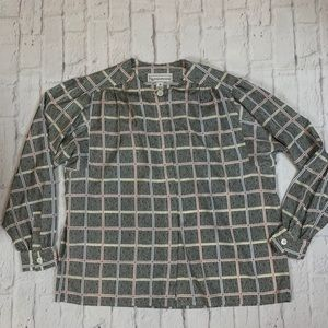 Evan Picone patterned button down top Sz 16